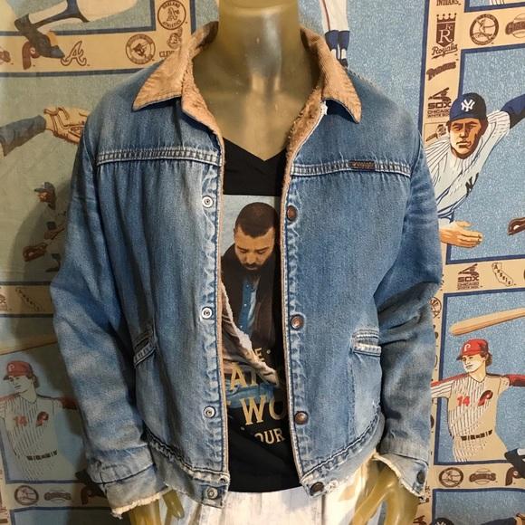 Vintage Jackets & Blazers - Vintage Distressed Wrangler Sherpa Denim Jacket